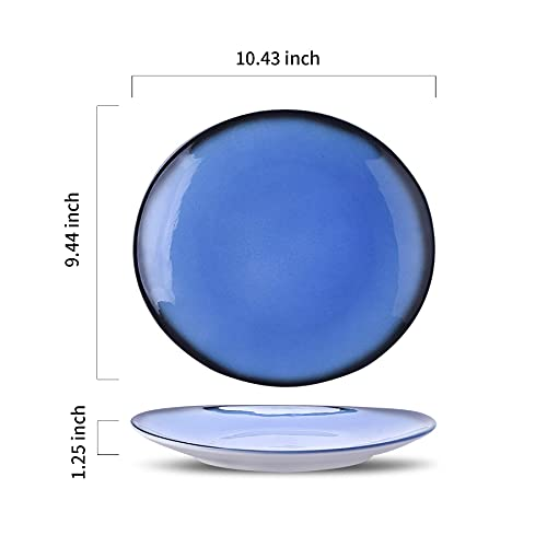 DUS Colorful Ceramic Dinner Plates Set 104 Inch Curved Dinnerware Set Platters Dishes For Restaurant Home Party Set Of 4 0 0