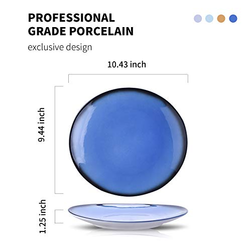 DUS Colorful Ceramic Dinner Plates Set 104 Inch Curved Dinnerware Set Platters Dishes For Restaurant Home Party Set Of 4 0 5