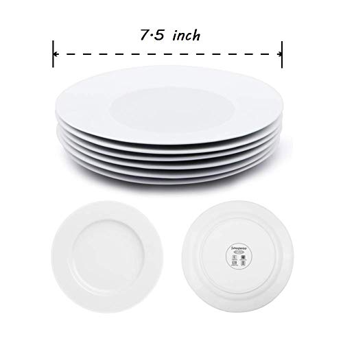 Dinner Plates Sets Of 6 For Salad And Desserts White Round Flat Plates For Party Home Kitchen And Restaurant 75 Inch Mother Day Gfit 0 0