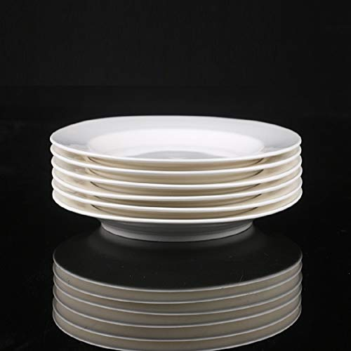 Dinner Plates Sets Of 6 For Salad And Desserts White Round Flat Plates For Party Home Kitchen And Restaurant 75 Inch Mother Day Gfit 0 4