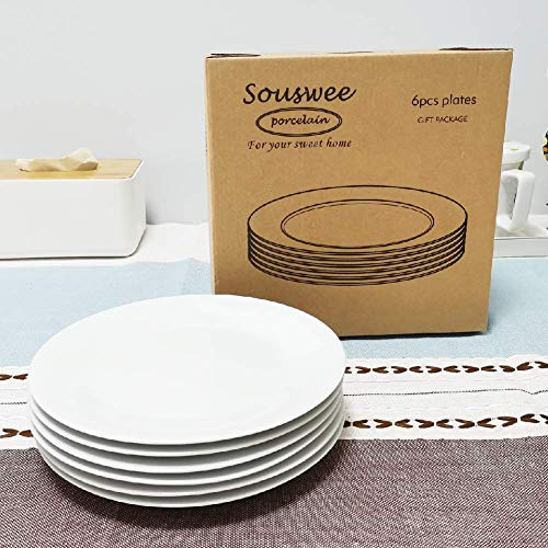 Dinner Plates Sets Of 6 For Salad And Desserts White Round Flat Plates For Party Home Kitchen And Restaurant 75 Inch Mother Day Gfit 0 5