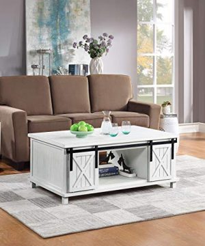 Distressed Coffee Table With Storage Shelf And Sliding Doors Industrial Coffee Table Wooden Cocktail Table With Storage Shelf And 2 Large Drawers For Living Room Rustic Finish Ship From USA White 0 300x360