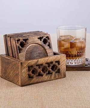 Earthly Home Wooden Bar Coasters For Drinks Decorative Cocktail Coasters Crafted From Seasonal Wood Vintage Design Set Of 6 Bar Coasters Dining Table Bar Top Accessories Rustic Look Absorbent 0 1 300x360