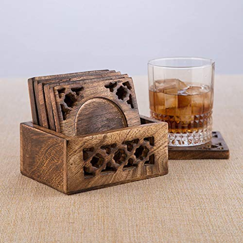 Earthly Home Wooden Bar Coasters For Drinks Decorative Cocktail Coasters Crafted From Seasonal Wood Vintage Design Set Of 6 Bar Coasters Dining Table Bar Top Accessories Rustic Look Absorbent 0 1