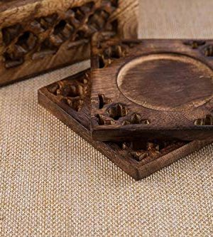 Earthly Home Wooden Bar Coasters For Drinks Decorative Cocktail Coasters Crafted From Seasonal Wood Vintage Design Set Of 6 Bar Coasters Dining Table Bar Top Accessories Rustic Look Absorbent 0 2 300x333