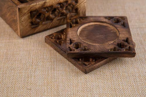Earthly Home Wooden Bar Coasters For Drinks Decorative Cocktail Coasters Crafted From Seasonal Wood Vintage Design Set Of 6 Bar Coasters Dining Table Bar Top Accessories Rustic Look Absorbent 0 2