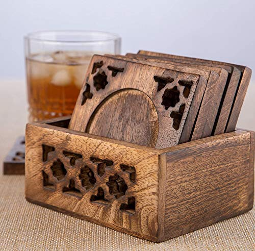 Earthly Home Wooden Bar Coasters For Drinks Decorative Cocktail Coasters Crafted From Seasonal Wood Vintage Design Set Of 6 Bar Coasters Dining Table Bar Top Accessories Rustic Look Absorbent 0