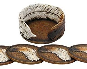 Ebros Rustic Western Indian Eagle Feather Sculpted Coaster Holder With 4 Round Coasters Decor Set In Vintage Colors For Drinks Cups Mugs Home And Kitchen Dining Decorative Figurine Southwestern 0 0 300x237