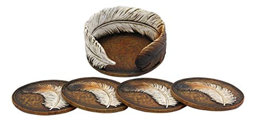 Ebros Rustic Western Indian Eagle Feather Sculpted Coaster Holder With 4 Round Coasters Decor Set In Vintage Colors For Drinks Cups Mugs Home And Kitchen Dining Decorative Figurine Southwestern 0 0
