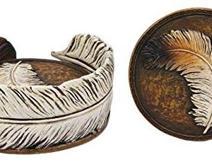 Ebros Rustic Western Indian Eagle Feather Sculpted Coaster Holder With 4 Round Coasters Decor Set In Vintage Colors For Drinks Cups Mugs Home And Kitchen Dining Decorative Figurine Southwestern 0 1 300x229