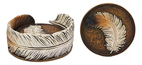 Ebros Rustic Western Indian Eagle Feather Sculpted Coaster Holder With 4 Round Coasters Decor Set In Vintage Colors For Drinks Cups Mugs Home And Kitchen Dining Decorative Figurine Southwestern 0 1