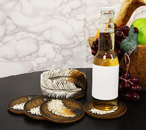 Ebros Rustic Western Indian Eagle Feather Sculpted Coaster Holder With 4 Round Coasters Decor Set In Vintage Colors For Drinks Cups Mugs Home And Kitchen Dining Decorative Figurine Southwestern 0 3