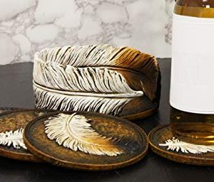 Ebros Rustic Western Indian Eagle Feather Sculpted Coaster Holder With 4 Round Coasters Decor Set In Vintage Colors For Drinks Cups Mugs Home And Kitchen Dining Decorative Figurine Southwestern 0 4 300x256
