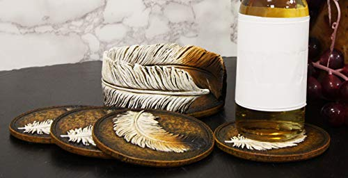 Ebros Rustic Western Indian Eagle Feather Sculpted Coaster Holder With 4 Round Coasters Decor Set In Vintage Colors For Drinks Cups Mugs Home And Kitchen Dining Decorative Figurine Southwestern 0 4