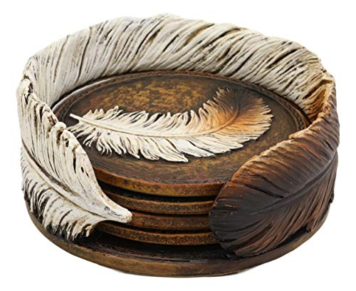 Ebros Rustic Western Indian Eagle Feather Sculpted Coaster Holder With 4 Round Coasters Decor Set In Vintage Colors For Drinks Cups Mugs Home And Kitchen Dining Decorative Figurine Southwestern 0