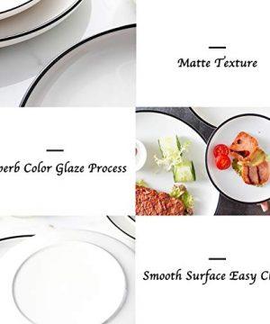 Eglaf 6 Ceramic Dessert Plates Black Edge Porcelain Tea Party Serving Plates Small Appetizer Plates For Cake Ice Cream Pie Snacks Set Of 6 0 1 300x360