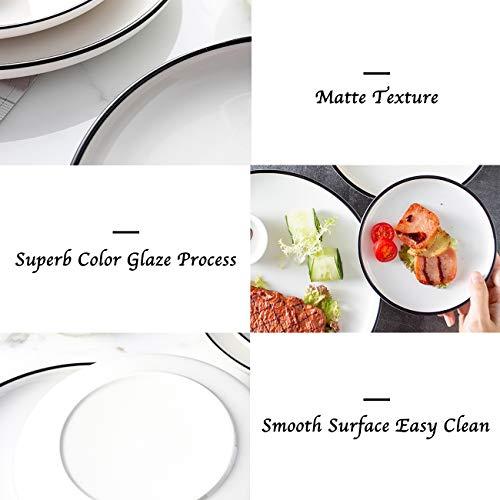 Eglaf 6 Ceramic Dessert Plates Black Edge Porcelain Tea Party Serving Plates Small Appetizer Plates For Cake Ice Cream Pie Snacks Set Of 6 0 1