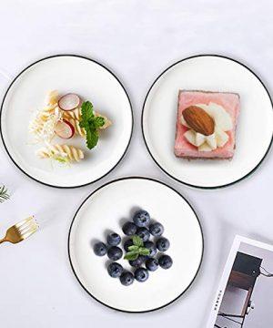 Eglaf 6 Ceramic Dessert Plates Black Edge Porcelain Tea Party Serving Plates Small Appetizer Plates For Cake Ice Cream Pie Snacks Set Of 6 0 4 300x360