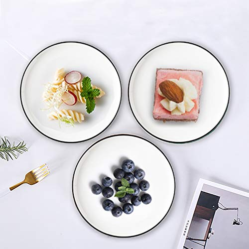 Eglaf 6 Ceramic Dessert Plates Black Edge Porcelain Tea Party Serving Plates Small Appetizer Plates For Cake Ice Cream Pie Snacks Set Of 6 0 4