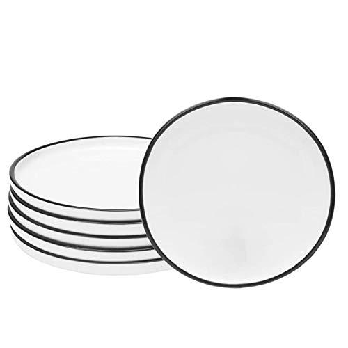 Eglaf 6 Ceramic Dessert Plates Black Edge Porcelain Tea Party Serving Plates Small Appetizer Plates For Cake Ice Cream Pie Snacks Set Of 6 0