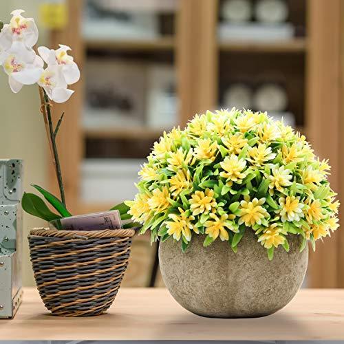 Epartswide Fake PlantsMini Artificial PlantsPotted Faux PlantColorful Flower Topiary Shrubs In Gray Pot For Bathroom Home Kitchen Office Porch Desk Shelf Farmhouse Decor 0 1