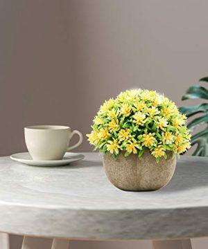 Epartswide Fake PlantsMini Artificial PlantsPotted Faux PlantColorful Flower Topiary Shrubs In Gray Pot For Bathroom Home Kitchen Office Porch Desk Shelf Farmhouse Decor 0 3 300x360