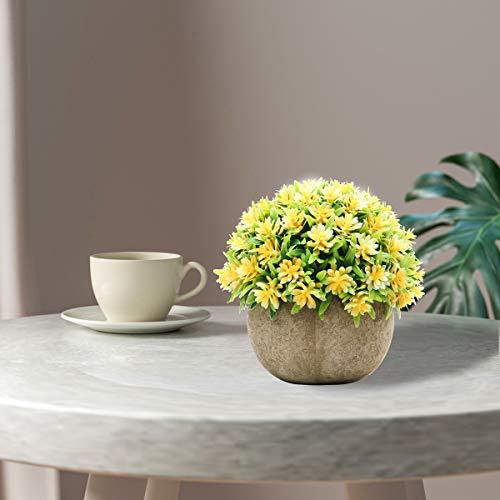 Epartswide Fake PlantsMini Artificial PlantsPotted Faux PlantColorful Flower Topiary Shrubs In Gray Pot For Bathroom Home Kitchen Office Porch Desk Shelf Farmhouse Decor 0 3