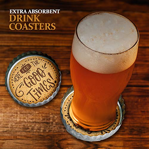 Exultimate Country Farmhouse Rustic Coasters For Drinks With Galvanized Rim Cork Bottom Absorbent Drink Coasters Set Of 4 0 3