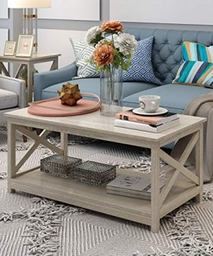 Farmhouse Modern Wood Coffee Table With 2 Tier Shelf Storage Accent Furniture For Living Room White Oak 0 300x360