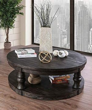 Furniture Of America Joss Rustic Round Wood Coffee Table In Antique Gray 0 0 300x360