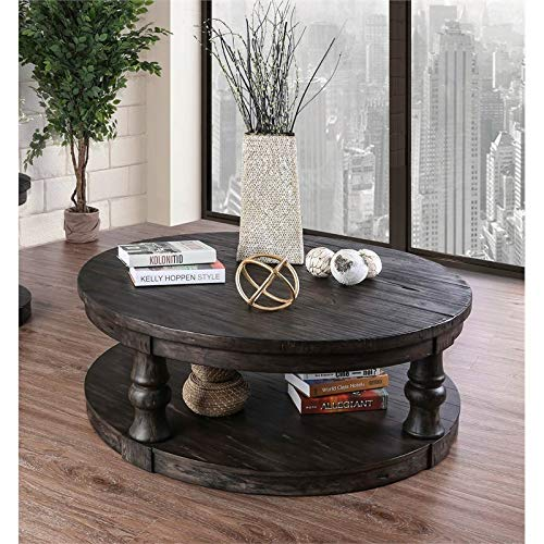 Furniture Of America Joss Rustic Round Wood Coffee Table In Antique Gray 0 0