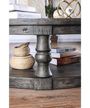 Furniture Of America Joss Rustic Round Wood Coffee Table In Antique Gray 0 1 300x360