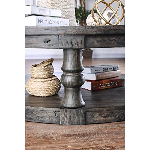 Furniture Of America Joss Rustic Round Wood Coffee Table In Antique Gray 0 1