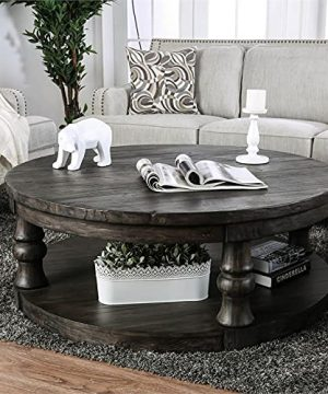 Furniture Of America Joss Rustic Round Wood Coffee Table In Antique Gray 0 3 300x360