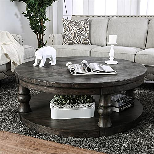 Furniture Of America Joss Rustic Round Wood Coffee Table In Antique Gray 0 3