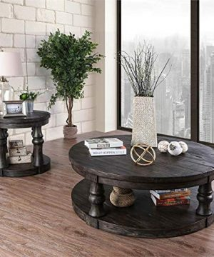 Furniture Of America Joss Rustic Round Wood Coffee Table In Antique Gray 0 4 300x360