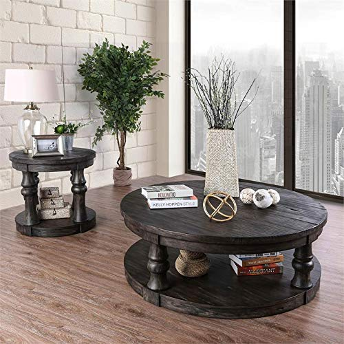 Furniture Of America Joss Rustic Round Wood Coffee Table In Antique Gray 0 4