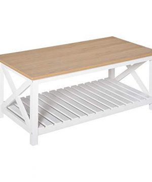 HOMCOM Farmhouse Style Coffee Table With X Bar Frame Open Slat Wooden Bottom Shelf NaturalWhite 0 300x360