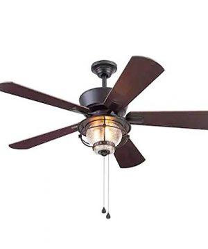 Harbor Breeze Merrimack II 52 In Matte Bronze LED IndoorOutdoor Ceiling Fan With Light Kit 5 Blade 0 300x360