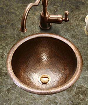 Houzer HW BAB1RS Hammerwerks Series Baby Round Topmount Copper Lavatory Sink Antique Copper 0 300x360