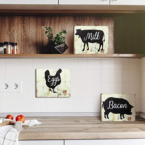 Jetec 3 Pieces Farmhouse Kitchen Signs Cow Rooster And Pig Decors 55 X 39 Inch Rustic Wooden Signs Country Wall Decorations For Kitchen Wall Decor And Home Decor Distressed Colors 0 3