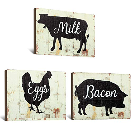 Jetec 3 Pieces Farmhouse Kitchen Signs Cow Rooster And Pig Decors 55 X 39 Inch Rustic Wooden Signs Country Wall Decorations For Kitchen Wall Decor And Home Decor Distressed Colors 0