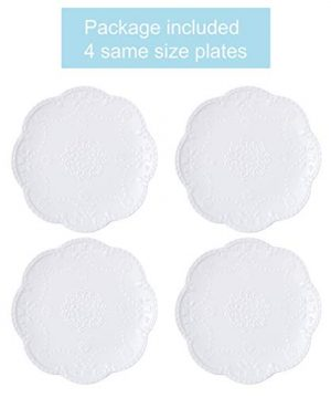 Jusalpha Embossed Lace Ceramic Plate Dinner Plate Set PastaSaladDessert Plate Dishwasher MicrowaveTableware Set For Restaurant Family Party Kitchen Use 4 Pieces FD PL15 6 Inche White 0 0 300x360