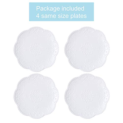 Jusalpha Embossed Lace Ceramic Plate Dinner Plate Set PastaSaladDessert Plate Dishwasher MicrowaveTableware Set For Restaurant Family Party Kitchen Use 4 Pieces FD PL15 6 Inche White 0 0