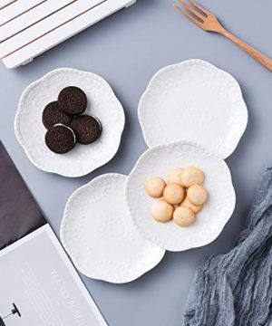 Jusalpha Embossed Lace Ceramic Plate Dinner Plate Set PastaSaladDessert Plate Dishwasher MicrowaveTableware Set For Restaurant Family Party Kitchen Use 4 Pieces FD PL15 6 Inche White 0 2 300x360