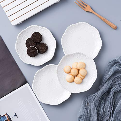 Jusalpha Embossed Lace Ceramic Plate Dinner Plate Set PastaSaladDessert Plate Dishwasher MicrowaveTableware Set For Restaurant Family Party Kitchen Use 4 Pieces FD PL15 6 Inche White 0 2
