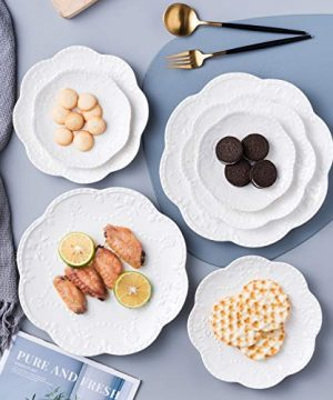 Jusalpha Embossed Lace Ceramic Plate Dinner Plate Set PastaSaladDessert Plate Dishwasher MicrowaveTableware Set For Restaurant Family Party Kitchen Use 4 Pieces FD PL15 6 Inche White 0 4 300x360