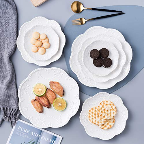 Jusalpha Embossed Lace Ceramic Plate Dinner Plate Set PastaSaladDessert Plate Dishwasher MicrowaveTableware Set For Restaurant Family Party Kitchen Use 4 Pieces FD PL15 6 Inche White 0 4