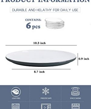 Kanwone Porcelain Dinner Plates 10 Inch Set Of 6 Microwave And Dishwasher Safe Plates Grey 0 0 300x360