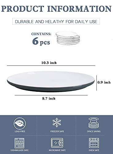 Kanwone Porcelain Dinner Plates 10 Inch Set Of 6 Microwave And Dishwasher Safe Plates Grey 0 0